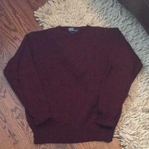 Men's Polo 100% wool Burgundy Crew Neck Sweater